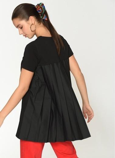 Loves You Arkası Piliseli A Shape Bluz Siyah